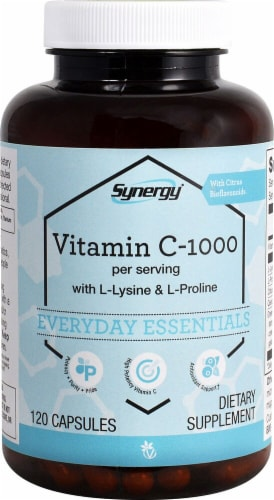 Vitacost Synergy Vitamin C-1000 with L-Lysine & L- Proline Capsules Perspective: front