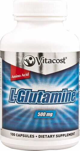 Vitacost L-Glutamine Capsules 500mg Perspective: front