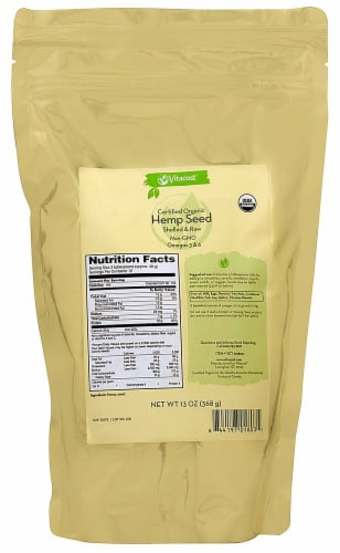 Vitacost  Certified Organic Hemp Seed Shelled & Raw Perspective: front