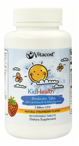 Vitacost KidHealth Strawberry Probiotic Chewable Tablets Perspective: front