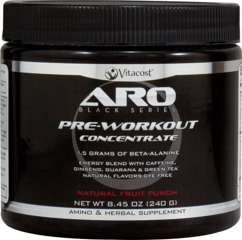 ARO Black Series Natural Fruit Punch Pre-Workout Concentrate Perspective: front