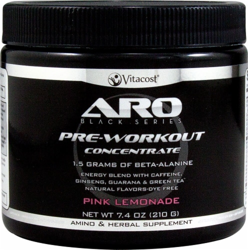 ARO-Vitacost Black Series Pre-Workout Concentrate Pink Lemonade Perspective: front