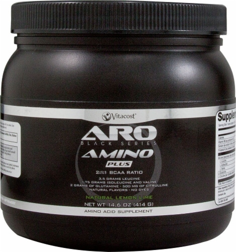 ARO-Vitacost  Black Series Natural Lemon Lime Flavored Amino Plus BCAA Supplement Perspective: front