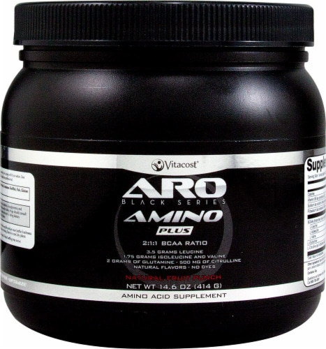 ARO Black Series Amino Plus BCAA Natural Fruit Punch Pre-Workout Concentrate Perspective: front