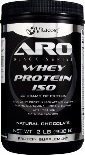 ARO-Vitacost  Black Series Whey Protein Isolate  Natural Chocolate Perspective: front