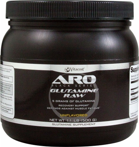 ARO-Vitacost  Black Series Unflavored Glutamine Raw Supplement Perspective: front
