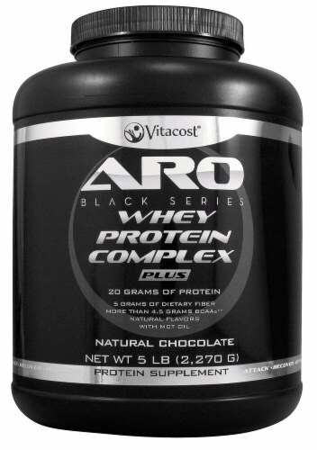 ARO-Vitacost  Black Series Whey Protein Complex PLUS   Natural Chocolate Perspective: front