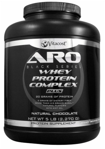 ARO-Vitacost Black Series Natural Chocolate Whey Protein Complex PLUS Protein Supplement Perspective: front