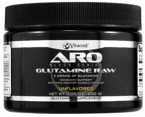 ARO - Vitacost Black Series Glutamine Raw Protein Powder Perspective: front