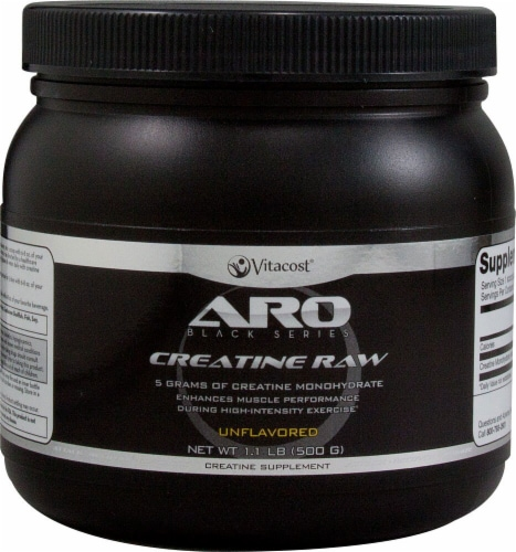 ARO-Vitacost Black Series Unflavored Creatine Raw Supplement Perspective: front