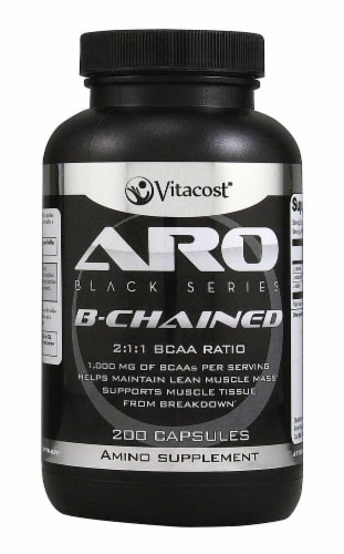ARO-Vitacost Black Series B-Chained Amino Supplement Capsules Perspective: front