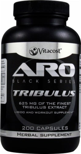 ARO-Vitacost Black Series Tribulus Extract Workout Supplement Perspective: front