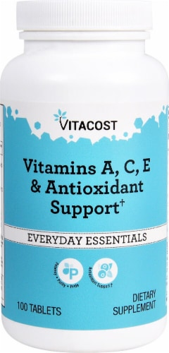 Vitacost Everyday Essentials Vitamins A C E & Antioxidant Support Tablets Perspective: front