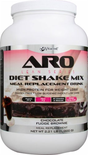 Vitacost ARO Lean Series Chocolate Fudge Brownie Flavored Diet Shake Mix Perspective: front