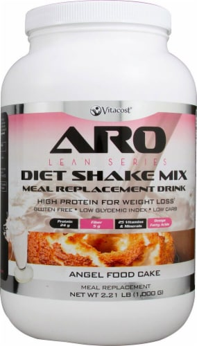 ARO-Vitacost Lean Series Angel Food Cake Flavored Diet Shake Mix Perspective: front