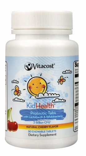 Vitacost KidHealth Probiotic Tabs for Kids Cherry Chewable Tablets Perspective: front