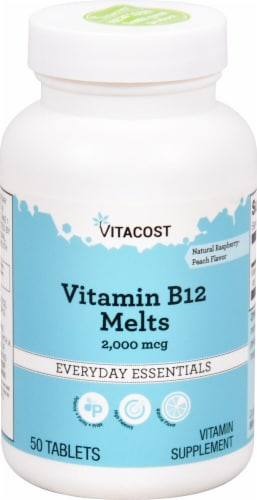 Vitacost Vitamin B12 Raspberry-Peach Melts Everyday Essentials Tablets Perspective: front