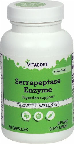 Vitacost Serrapeptase Enzyme Enteric Coated Dietary Supplement Capsules Perspective: front