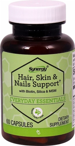 Vitacost Synergy Everyday Essentials Hair Skin & Nails Support Capsules Perspective: front