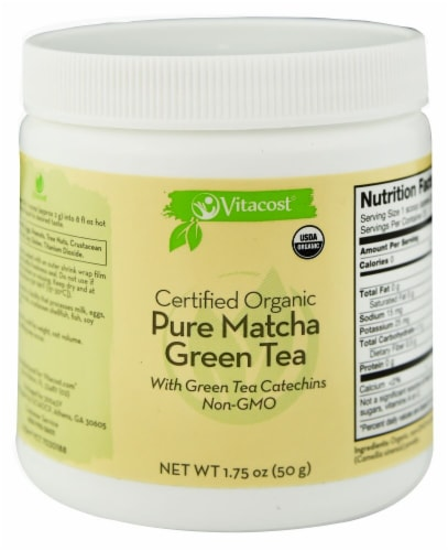 Vitacost  Certified Organic Pure Matcha Green Tea Powder - Non-GMO Perspective: front