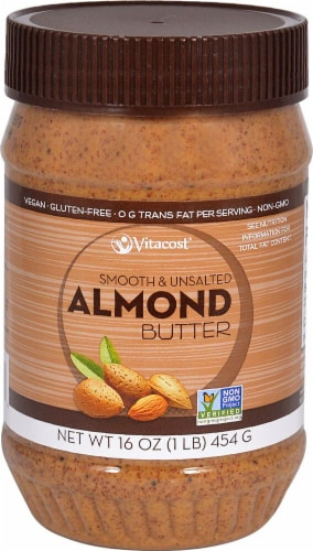 Vitacost Smooth & Unsalted Almond Butter Perspective: front