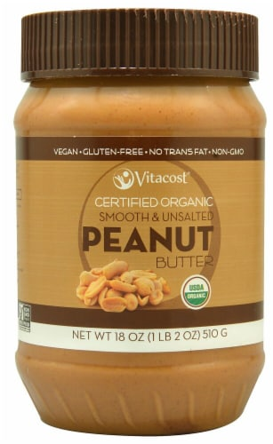Vitacost Certified Organic Smooth & Unsalted Peanut Butter Perspective: front