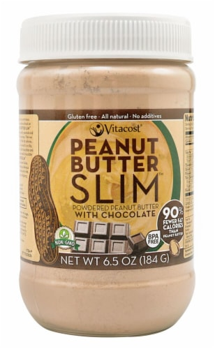 Vitacost  Powdered Peanut Butter SLIM(tm) with Chocolate - NON GMO - Gluten Free Perspective: front