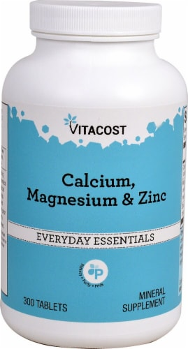 Vitacost Everyday Essentials Calcium Magnesium & Zinc Tablets Perspective: front