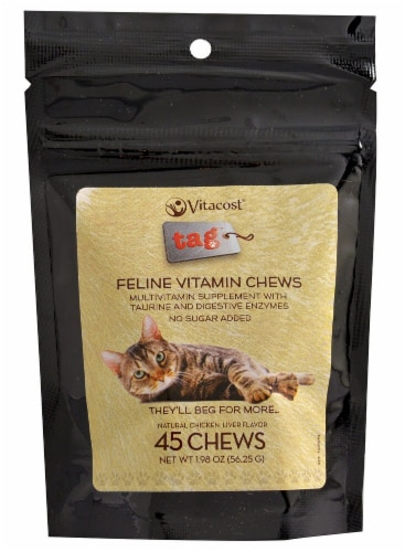 Vitacost - Tag  Feline Vitamin Chews   Chicken Liver Flavor Perspective: front