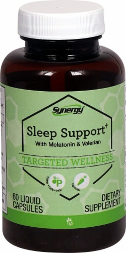Vitacost  Synergy Sleep Support† with Melatonin & Valerian Perspective: front