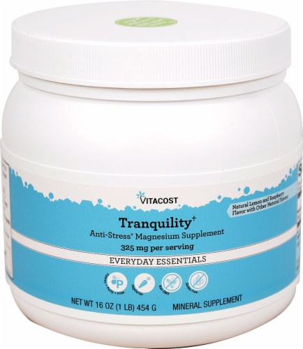 Vitacost Tranquility Lemon and Raspberry Magnesium Supplement Perspective: front