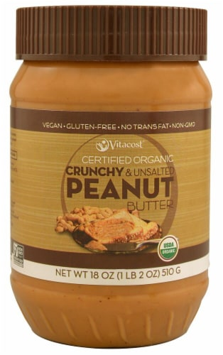 Vitacost Certified Organic Crunchy & Unsalted Peanut Butter Perspective: front