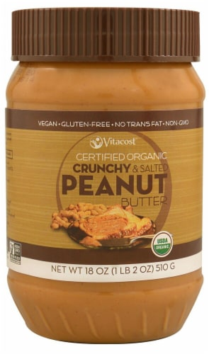 Vitacost Certified Organic Crunchy & Salted Peanut Butter Perspective: front