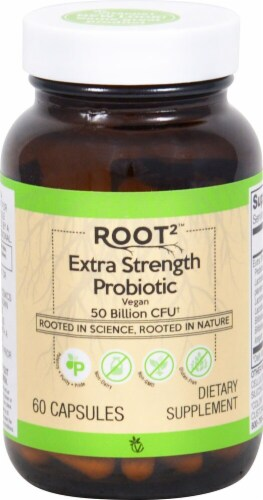 Vitacost ROOT2 Extra Strength Vegan Probiotic Capsules Perspective: front