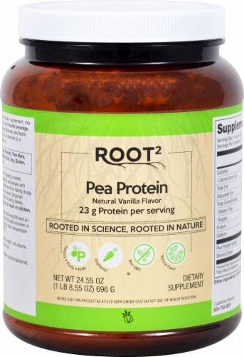 Vitacost Root2 Natural Vanilla Pea Protein Powder Perspective: front