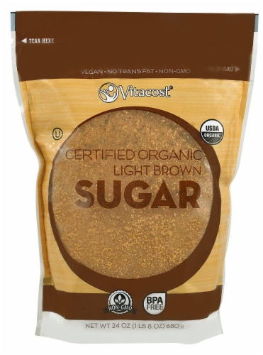 Vitacost Certified Organic Non-GMO Light Brown Sugar Perspective: front