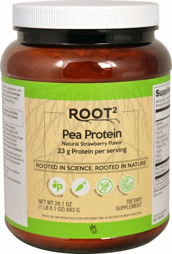 Vitacost ROOT2 Natural Strawberry Flavor Pea Protein Dietary Supplement Perspective: front