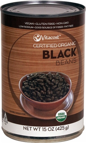 Vitacost  Certified Organic Black Beans - Non-GMO and Gluten Free Perspective: front