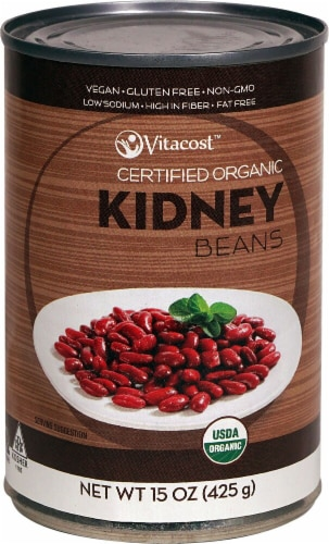 Vitacost  Certified Organic Kidney Beans - Non-GMO and Gluten Free Perspective: front