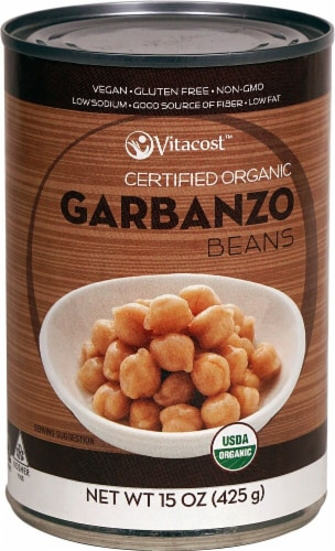 Vitacost  Certified Organic Garbanzo Beans - Non-GMO and Gluten Free Perspective: front