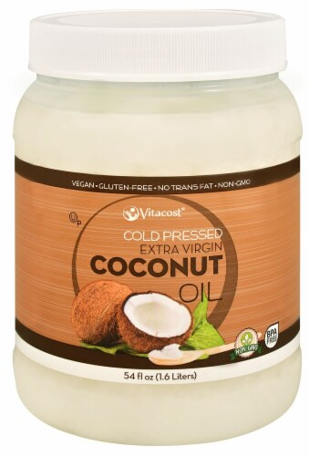 Vitacost Cold Pressed Extra Virgin Coconut Oil Perspective: front