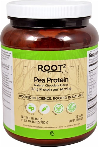 Vitacost ROOT2 Chocolate Flavored Pea Protein Perspective: front