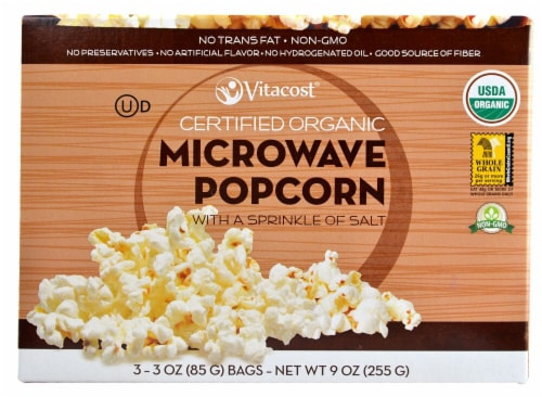 Vitacost  Certified Organic Microwave Popcorn - Non-GMO   Lightly Salted Perspective: front