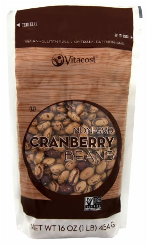 Vitacost Non-GMO Cranberry Beans Perspective: front