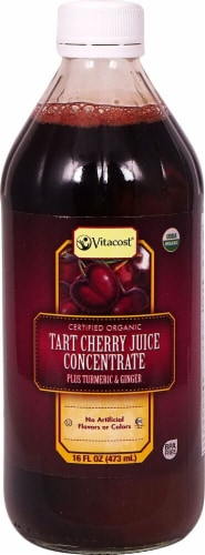 Vitacost Certified Organic Tart Cherry Juice Concentrate Plus Turmeric & Ginger Perspective: front