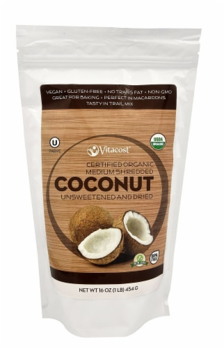 Vitacost  Certified Organic Medium Shredded Coconut Unsweetened - Gluten Free and Non-GMO Perspective: front