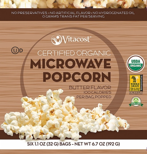 Vitacost  Certified Organic Microwave Popcorn - 100 calories POPPED - Non-GMO   Butter Perspective: front