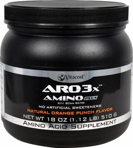 Vitacost ARO  Natural Orange Punch Flavor 3X Amino Plus Supplement Perspective: front