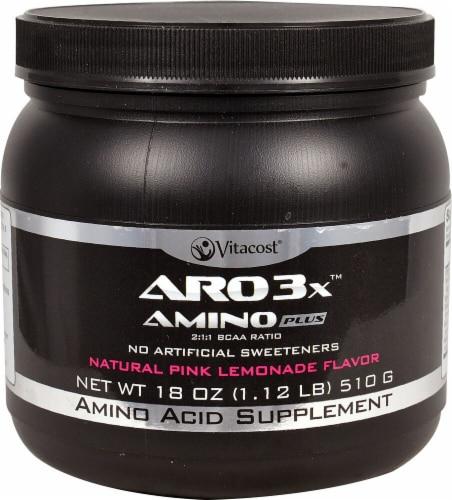 Vitacost ARO Natural Pink Lemonade Flavor 3X Amino Plus Supplement Perspective: front