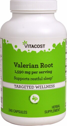Vitacost Valerian Root Herbal Supplement Capsules 1590mg Perspective: front